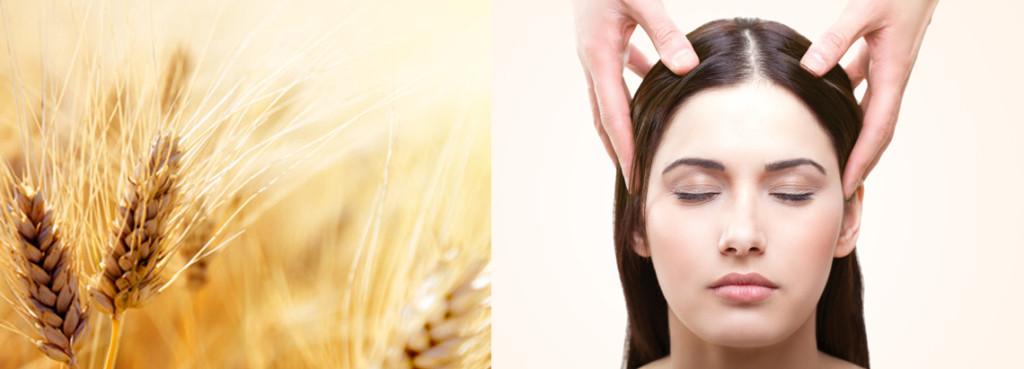 Eine enspannt erscheinende Frau mit geschlossenen Augen bei der Kopfmassage